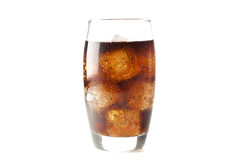 Refreshing Brown Soda with Ice Stock Photography