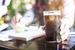 Refreshing Bubbly Soda Pop. With Ice Cubes royalty free stock photography