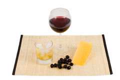 Refreshing cheese and wine snack Stock Image