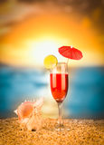 Refreshing cocktail on the beach. Royalty Free Stock Photography