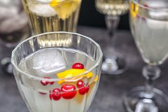 Refreshing cocktail with cranberry and lemon. On table Royalty Free Stock Photo