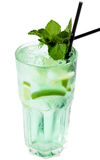 Refreshing cocktail with ice. Isolated on white Stock Images