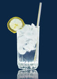 Refreshing cocktail with ice and lemon slice Stock Images
