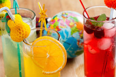 Refreshing cocktails and Globe, concept Royalty Free Stock Images