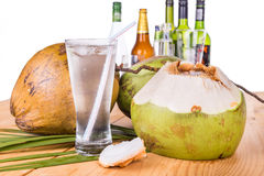 Refreshing coconut fruit juice re-hydrates and helps relief alco Royalty Free Stock Image