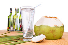 Refreshing coconut fruit juice re-hydrates and helps relief alco Stock Photos