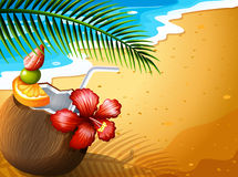 A refreshing coconut juice drink at the beach Royalty Free Stock Photography