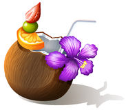 A refreshing coconut juice Royalty Free Stock Images
