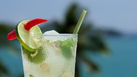 Refreshing coctail with lime and ginger on the open air.  stock video
