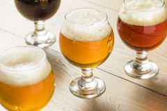 Refreshing Cold Beer Flight stock photo