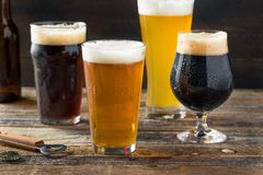 Refreshing Cold Craft Beer Assortment. Of IPA Lager and Stout stock photos