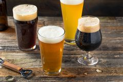 Refreshing Cold Craft Beer Assortment. Of IPA Lager and Stout stock image
