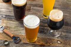 Refreshing Cold Craft Beer Assortment. Of IPA Lager and Stout stock photo