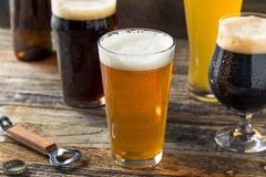 Refreshing Cold Craft Beer Assortment. Of IPA Lager and Stout royalty free stock image