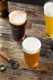 Refreshing Cold Craft Beer Assortment. Of IPA Lager and Stout stock photography