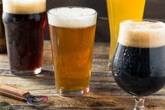 Refreshing Cold Craft Beer Assortment. Of IPA Lager and Stout royalty free stock images