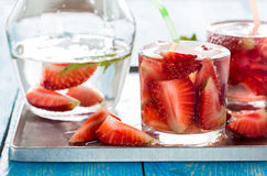 Refreshing cold strawberry soda dink Royalty Free Stock Photo