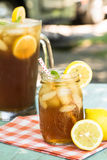 Refreshing Cold Summer Drink Iced Tea With Lemon Stock Photo