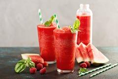 Refreshing cold summer drink watermelon slushie stock photos