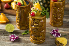 Refreshing Cold Tiki Drink Cocktails Royalty Free Stock Images