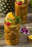 Refreshing Cold Tiki Drink Cocktails Stock Image