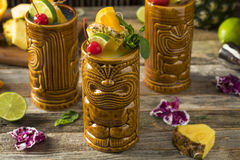 Refreshing Cold Tiki Drink Cocktails Royalty Free Stock Image
