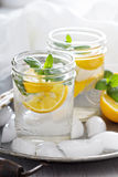 Refreshing cold water with lemon and mint Stock Photos