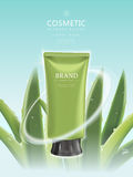 Refreshing cosmetic product poster. Green tube package template with aloe elements isolated on blue background, 3D illustration Stock Image