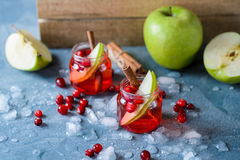Refreshing cranberry drink with apples and ice Stock Images