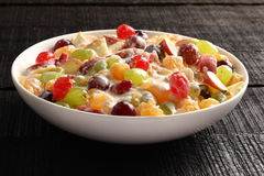 Refreshing creamy fruit salad served in bowl, Royalty Free Stock Photo