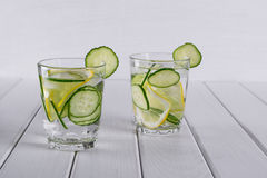Refreshing  cucumber  cocktail, lemonade, detox water  in a glasses. Summer drink. Royalty Free Stock Photos