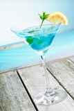 Refreshing curacao martini cocktail Stock Images