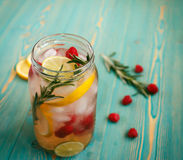 Refreshing detox water in jar Stock Photography
