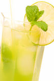 Refreshing drink. Cold and refreshing drink with mint and lime Stock Image