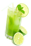 Refreshing drink. Cold and refreshing drink with lime, mint and ice Stock Images