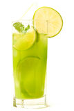 Refreshing drink. Cold and refreshing drink with lime, mint and ice Royalty Free Stock Photos