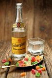 Refreshing drink, antique Schweppes bottle. Rustic style stock photography