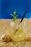 Refreshing drink on the beach Royalty Free Stock Photography