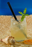 Refreshing drink on the beach Royalty Free Stock Photos