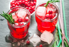 A refreshing drink of cranberry, rosemary and ice cubes Stock Photo