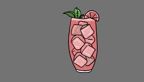 Refreshing drink illustration. Refreshing drink pink colored, on gray background, illustration Stock Images