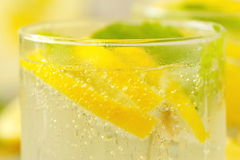 Refreshing drink with lemon, ice and mint Royalty Free Stock Photo