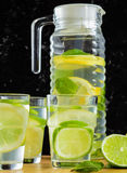 Refreshing drink of lemon, Infused Water. A glass of delicious refreshing drink of lemon with mint , infused water Royalty Free Stock Photo