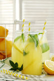 Refreshing drink. Lemonade. Refreshing drink on the table Stock Photos