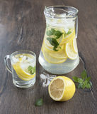 Refreshing drink from lemons with ice. Refreshing in the heat lemon drink with mint and ice Stock Photography