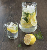 Refreshing drink from lemons. Refreshing in the heat lemon drink with mint and ice Royalty Free Stock Photos