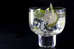 Refreshing drink. One refreshing cocktail on a black background Royalty Free Stock Image