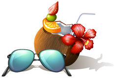 A refreshing drink and a sunglasses for a beach outing. Lllustration of a refreshing drink and a sunglasses for a beach outing on a white background Stock Images