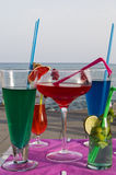 Refreshing drinks in the beach Stock Images