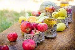Refreshing drinks, (beverages) cider and sangria Royalty Free Stock Images